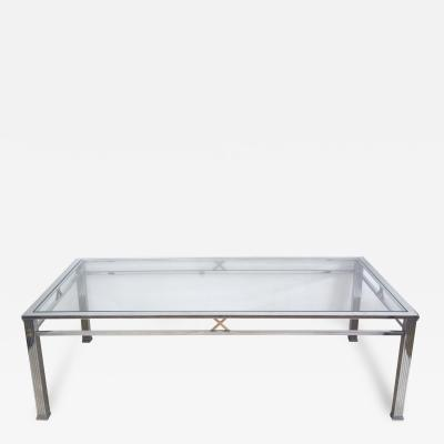 A Good Quality French Chrome and Brass Rectangular Coffee Table
