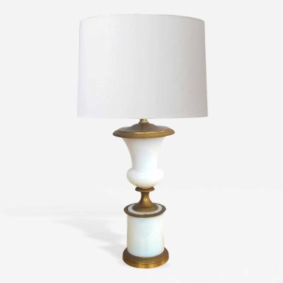A Good Quality French White Opaline Glass Urn Form Lamp