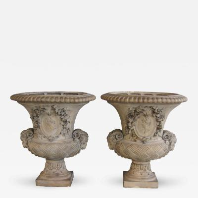 A Good Quality Pair of Italian Campagna Form Terracotta Urns
