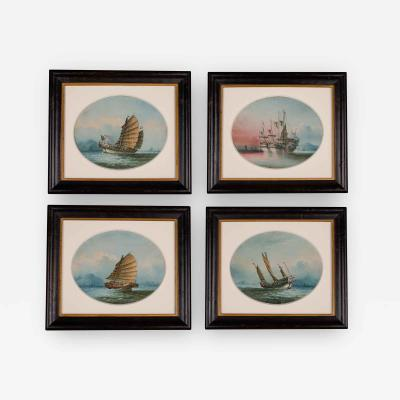 A Good Set of Four Oil on Linen Paintings of Chinese Junks by NC
