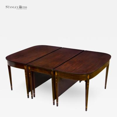 A Grand Federal Hepplewhite Inlaid Mahogany 3 Part Dining Table 1800 1820