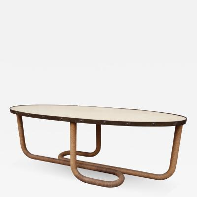 A Grass and Parchment Oval Coffee Table Italy 1970