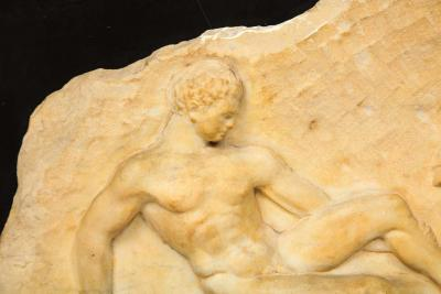 A Greek Parthenon Marble Frieze Panel Depicting a Man and Horse