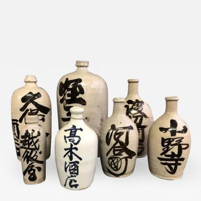 A Group of Antique Japanese Saki Bottles