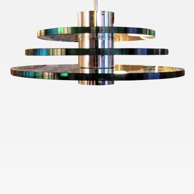 A H Feldman Minimalist Glass Disc Chandelier A H Feldman and Son Nickel Plated 1980s