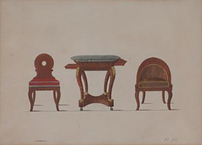 A Hand Colored illustration of Three Pieces of Furniture in Frame