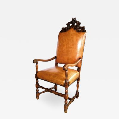 A Handsome French Baroque Style Leather Upholstered Armchair