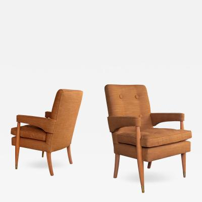 A Handsome Pair of American Mid Century High Back Arm Chairs