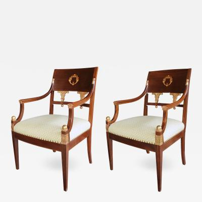 A Handsome Pair of Danish Neoclassical Style Mahogany Armchairs