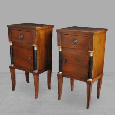 A Handsome Pair of Italian Empire Walnut Bedside Commodes