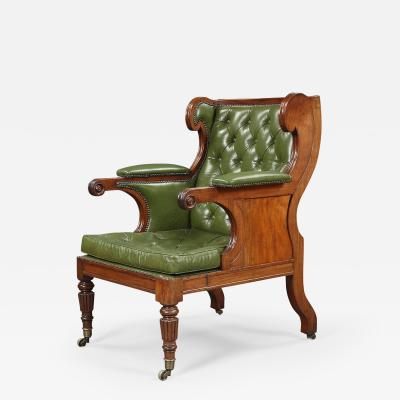 A Handsome Regency Mahogany Winged Library Chair