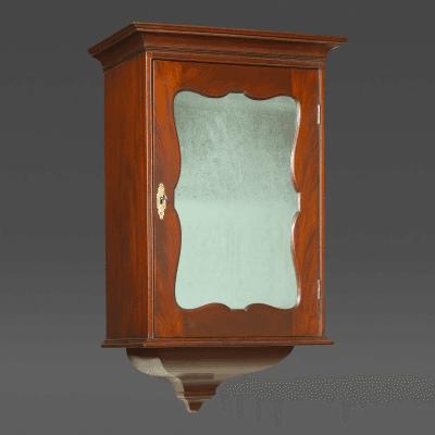 A Highly Unusual Philadelphia Mahogany Mirrored Door Dressing Cabinet c 1750