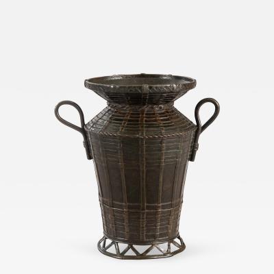 A Japanese Bronze Basket Vase with Handles