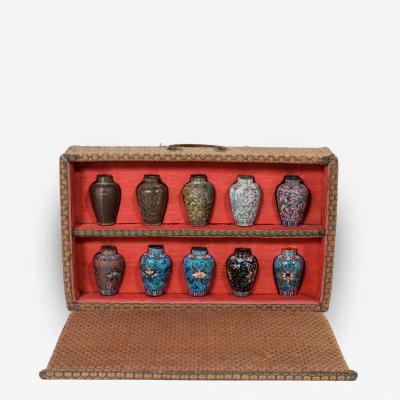 A Japanese Cloisonn Sample Set Comprising 10 Small Metal Vases