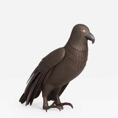 A Japanese Iron Okimono of a hawk