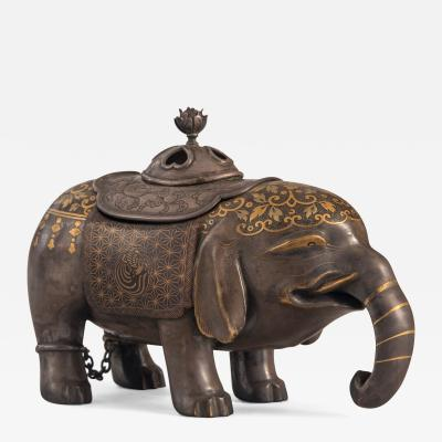 A Japanese Lacquer Incense Burner in the Form of an Elephant Signed