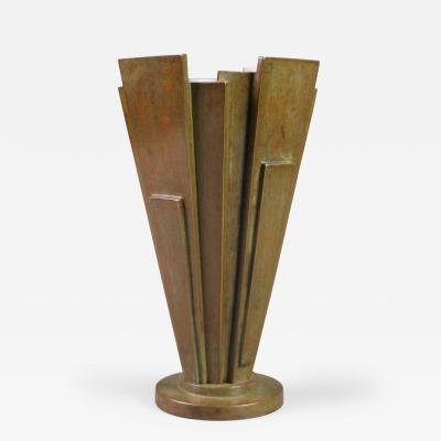 A Japanese Patinated Bronze Vase Marked MADE IN JAPAN
