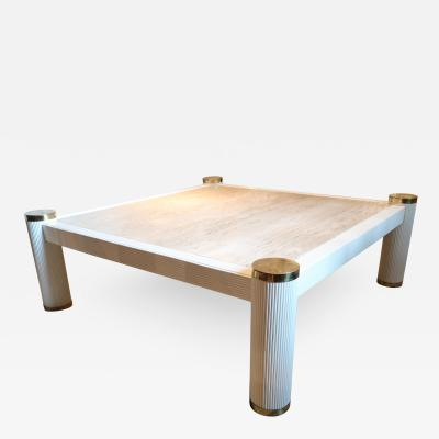 A Lacquered Bamboo Marble and Brass Coffee Table Italy 1970
