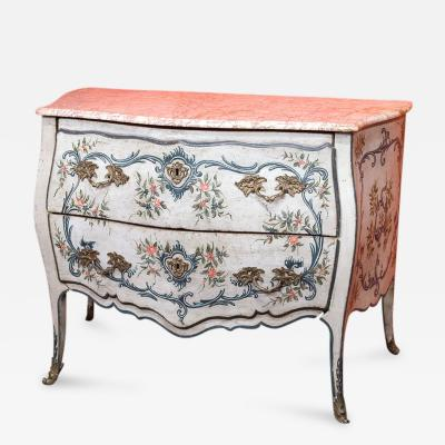 A Lacquered Wood Ligurian Commode with Rose Debrignoles Marble Top
