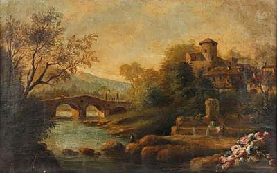 A Landscape Painting in Gilt Frame
