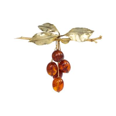 A Large 1940s Gold and Amber Brooch in the Form of a Bunch of Cherries