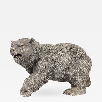A Large Antique French Silvered Figure of Polar Bear circa 1900