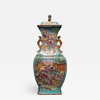 A Large Chinese Export Famille Rose Mandarin Palette Covered Vase