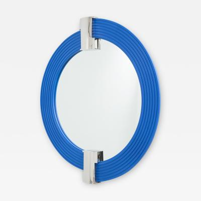 A Large Cobalt Blue Mirror with Nickel Plated Mounts late 1970s