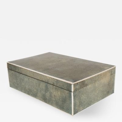 A Large French Shagreen Box with White Border Outline