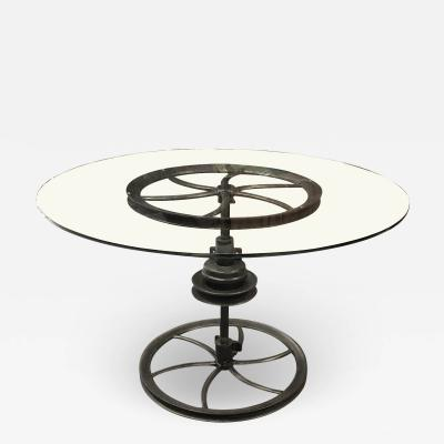 A Large Heavy duty Antique Industrial Cast Iron Table with Glass Top