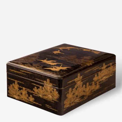 A Large Japanese Gold Lacquer Box Bunko