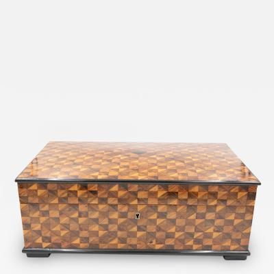 A Large Marquetry Box With A Slightly Domed Top French Circa 1860 1870