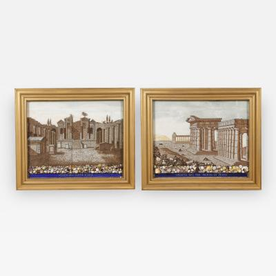 A Large Pair Of Shellwork Pictures Representing Ruins