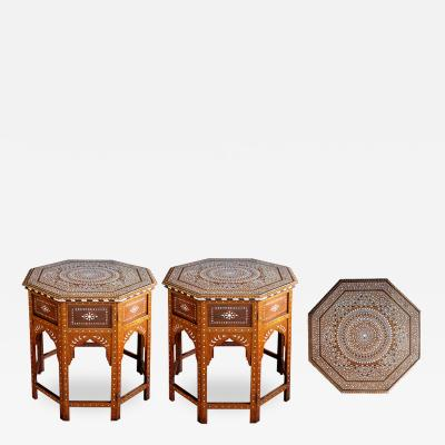 A Large Pair of Finely Inlaid Anglo Indian Traveling Tables