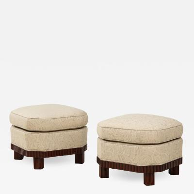 A Large Pair of French Art Deco Foot Stools or Ottomans