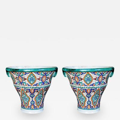 A Large Pair of Moroccan Conical Form Double Handled Pots