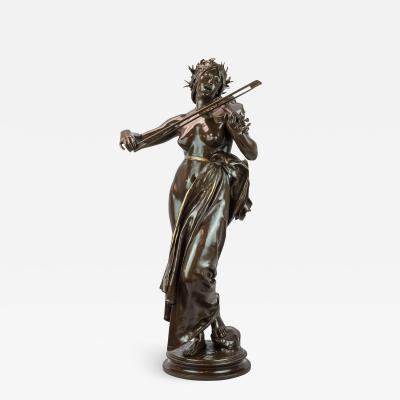 A Large Patinated Bronze Sculpture of a woman playing a violin La Musique