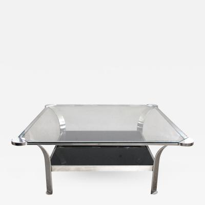 A Large Scaled French 1970s Steel Coffee Table with Clear Glass Top