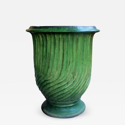 A Large Scaled French Green Glazed Striated Garden Pot Urn