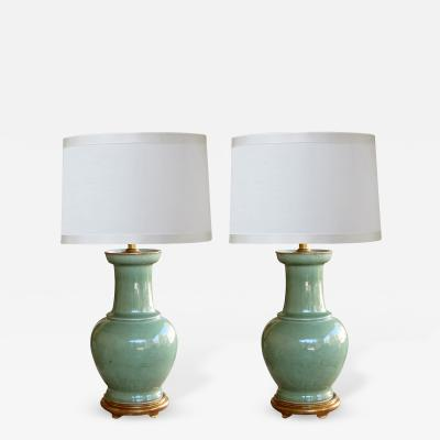 A Large Scaled Pair of Antique Chinese Celadon Glazed Vases Now Mounted as Lamps