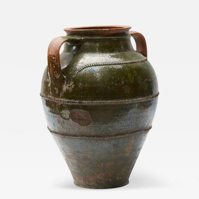 A Large Textured Glazed Pot with Handles