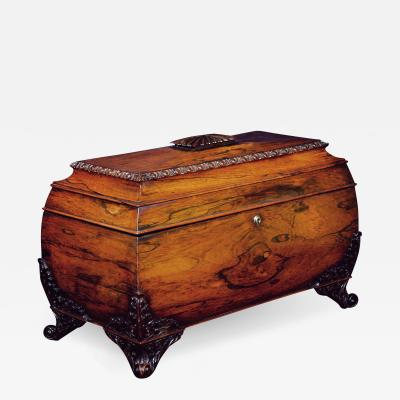 A Large William IV Rosewood Tea Caddy
