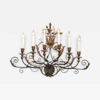 A Large Wrought Iron Art Deco Wall Sconce