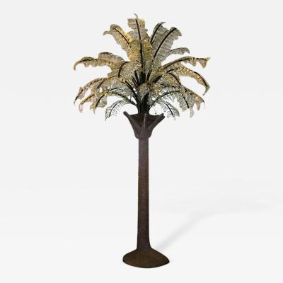 A Large and Impressive Glass Frond Palm Tree