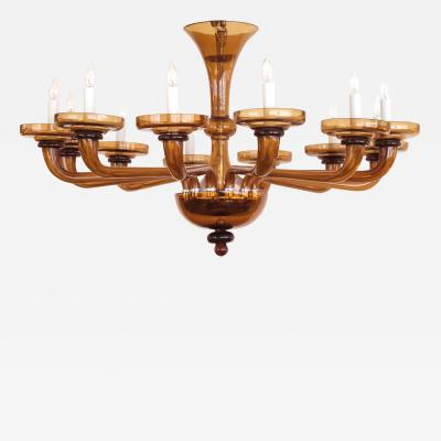 A Large and Richly Colored Murano 12 Light Amber Glass Chandelier