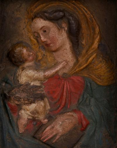 A Late Renaissance Cartapesta Madonna Italian 17th C