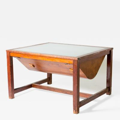 A Light Table with Glass Top and Wood Frame