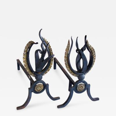 A Lively Pair of French Hand Wrought Iron Andirons of a Stylized Flame