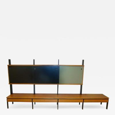 A Long Modernist Wall Unit in European Birch and Lacquer