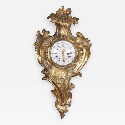 A Louis XV Rococo Ormolu Cartel Clock French ca 1750